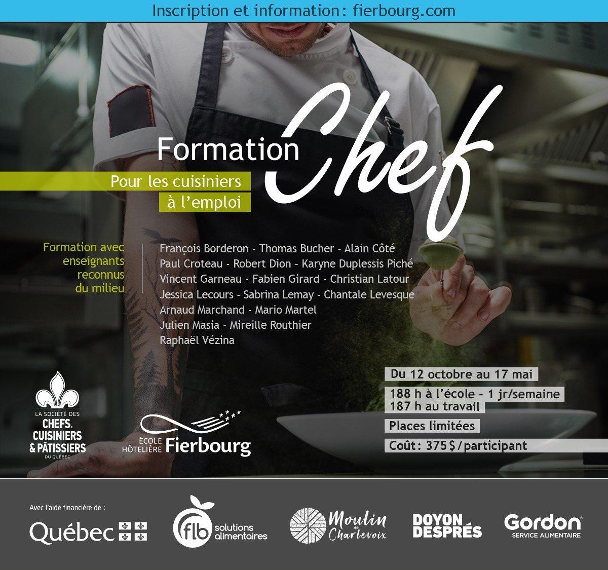 Formation chef pour les cuisiniers à l'emploi
